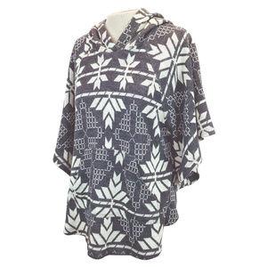 Zara Basic Ivory Grey Aztec Knit Sweater Poncho M